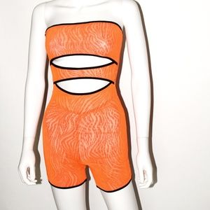 Criss Cross Neon Short Bodysuit